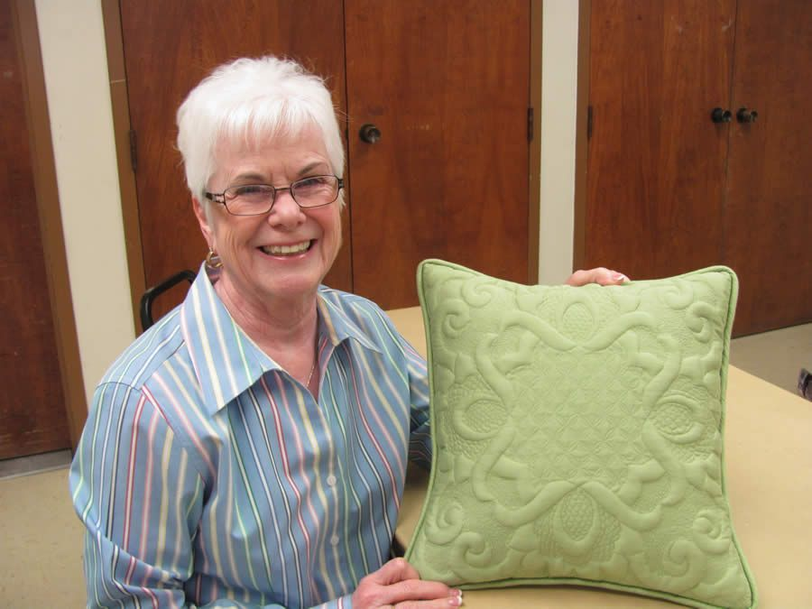 Chic Cloud with her gorgeous green trapunto pillow